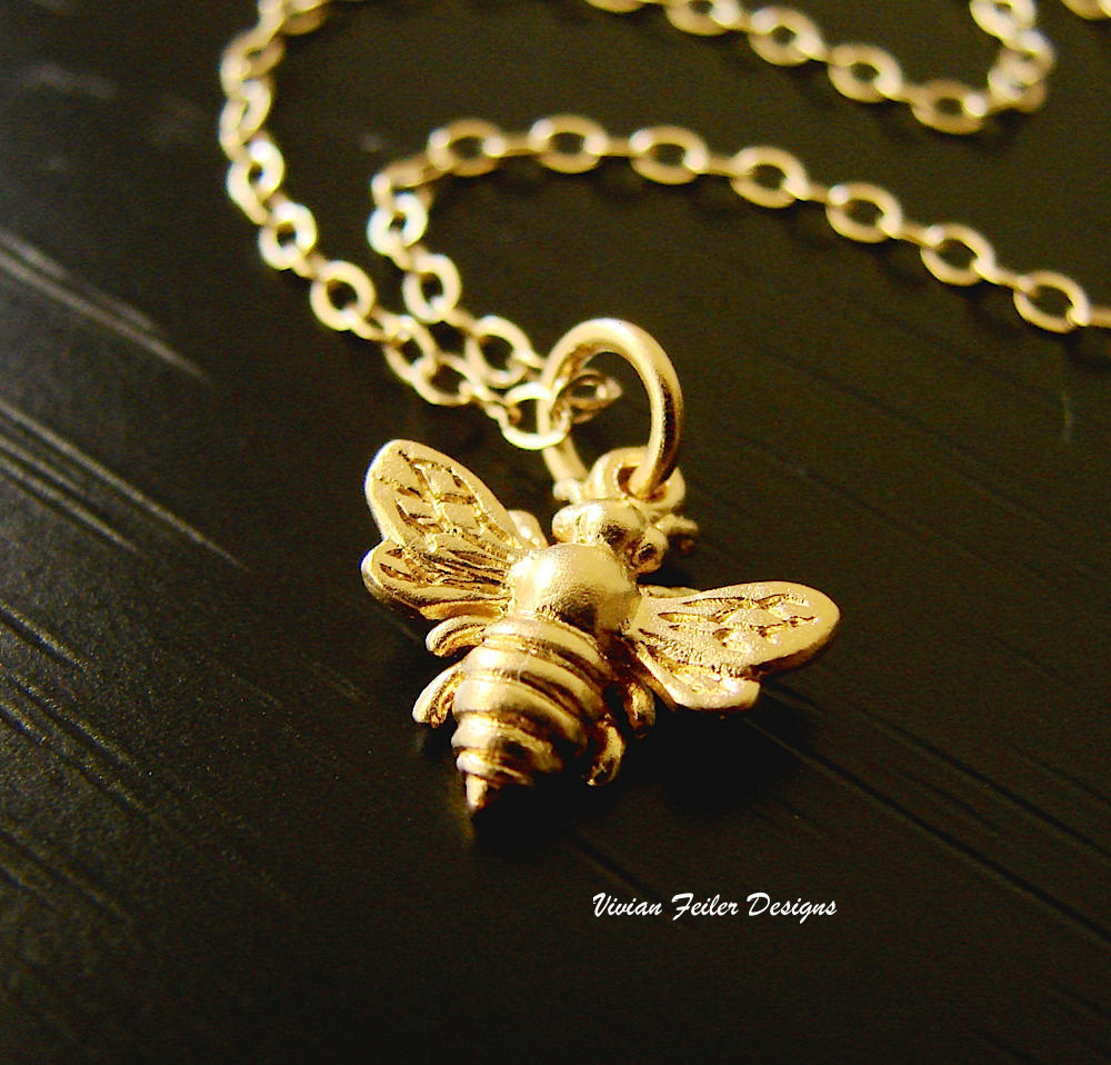Bee Necklace Jewelry 24K Gold Bumble Bee Queen Bee Honey Bee Mother Day  Gift Bridesmaid Jewelry Bridal Party Intended For 2020 Queen Bee Pendant Necklaces (View 4 of 25)
