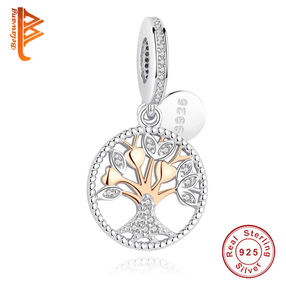 Belawang Authentic 925 Sterling Silver Beads Rose Gold Family Tree Dangle  Charm Fit Original Pandora Bracelet Diy Jewelry Making Inside Most Current Dangling Family Tree Rings (View 2 of 25)