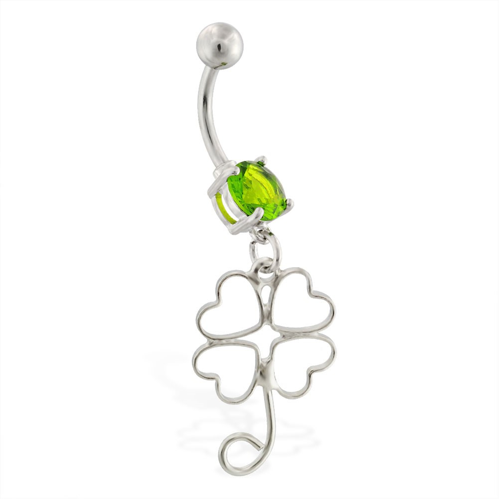 Belly Ring With Dangling Four Leaf Clover Outline With Regard To Best And Newest Dangling Four Leaf Clover Rings (View 3 of 25)