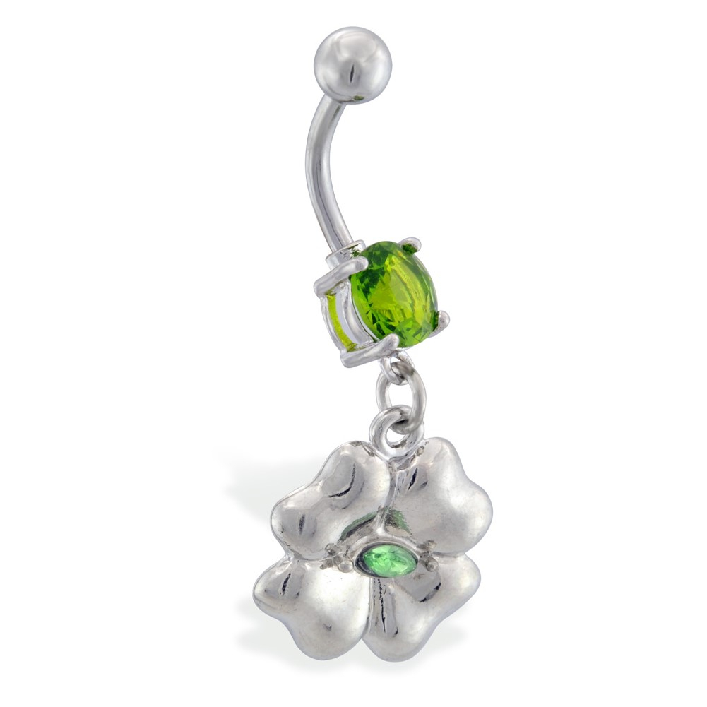 Belly Ring With Dangling Jeweled Four Leaf Clover Inside Recent Dangling Four Leaf Clover Rings (View 4 of 25)
