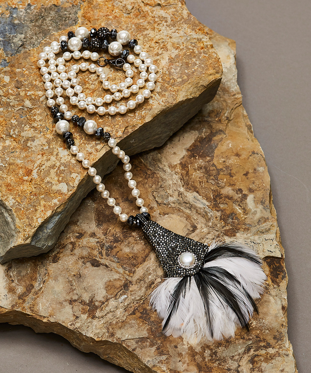 Beria Collection Imitation Pearl & Black Crystal Feather Pendant Necklace Within Most Current Shimmering Feather Pendant Necklaces (View 1 of 25)