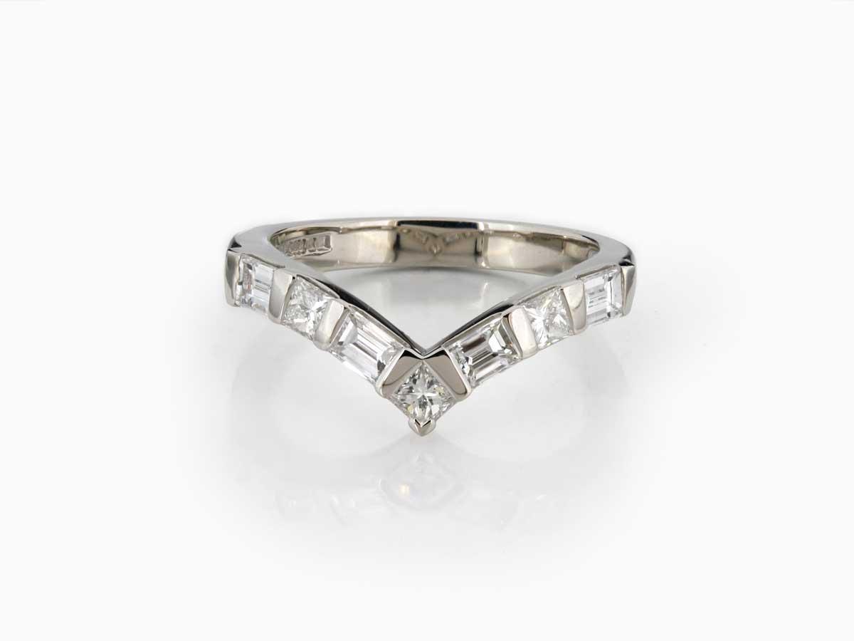 Bespoke Palladium Diamond Wishbone Ring – Thejewelleryworkshop Within Latest Princess Wishbone Rings (View 10 of 25)