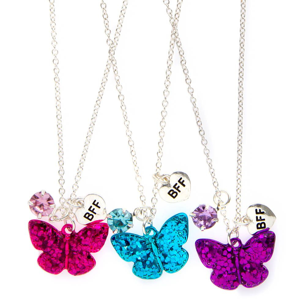 Best Friends Glitter Butterfly Pendant Necklaces Set Of 3 | Claire's With Most Recent Pink Butterfly Locket Element Necklaces (View 13 of 25)