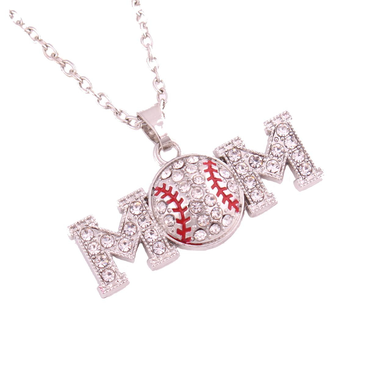 Best Sale Sporty Necklace For Unisex Mom Letter Charm Baseball Pattern With Sparkling Crystals Link Chain Necklace Throughout Most Up To Date Sparkling Pattern Necklaces (View 3 of 25)