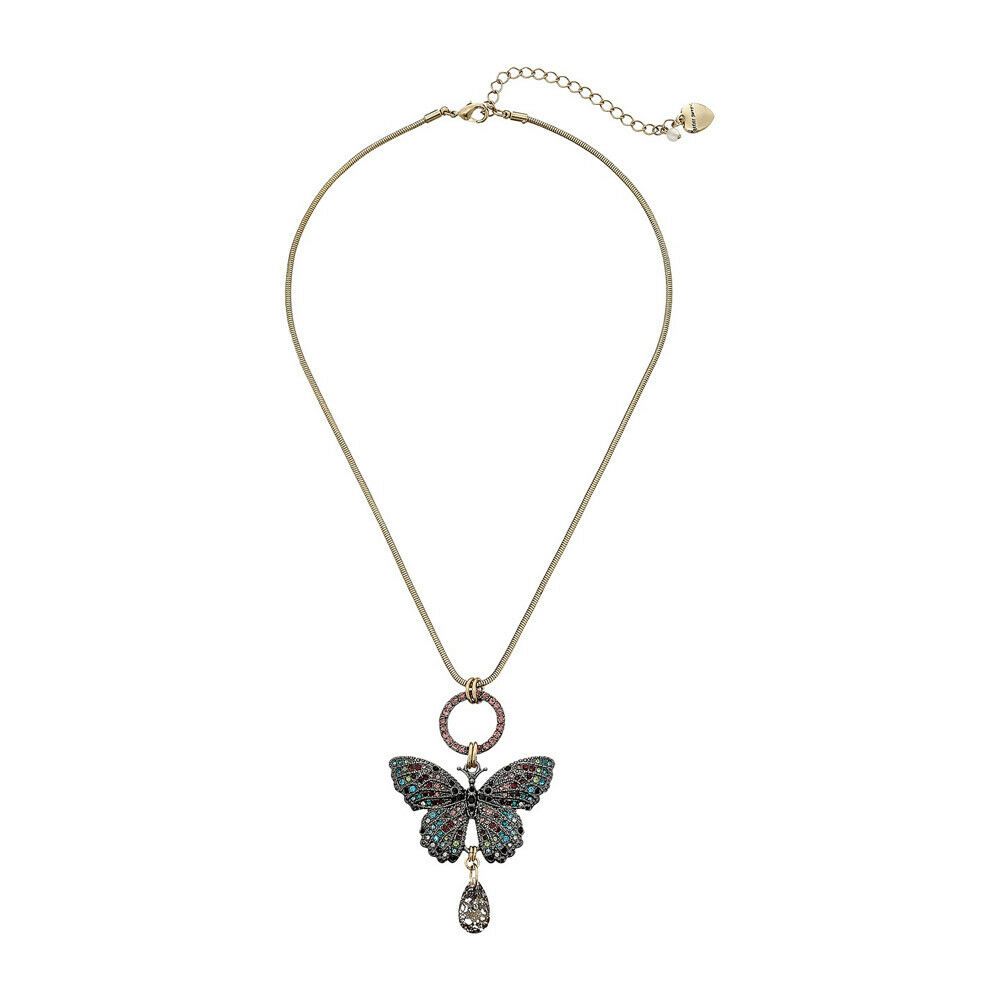 Betsey Johnson Metallic Pave Butterfly Pendant Necklace | Ebay Pertaining To Most Recently Released Pavé Butterfly Pendant Necklaces (View 2 of 25)