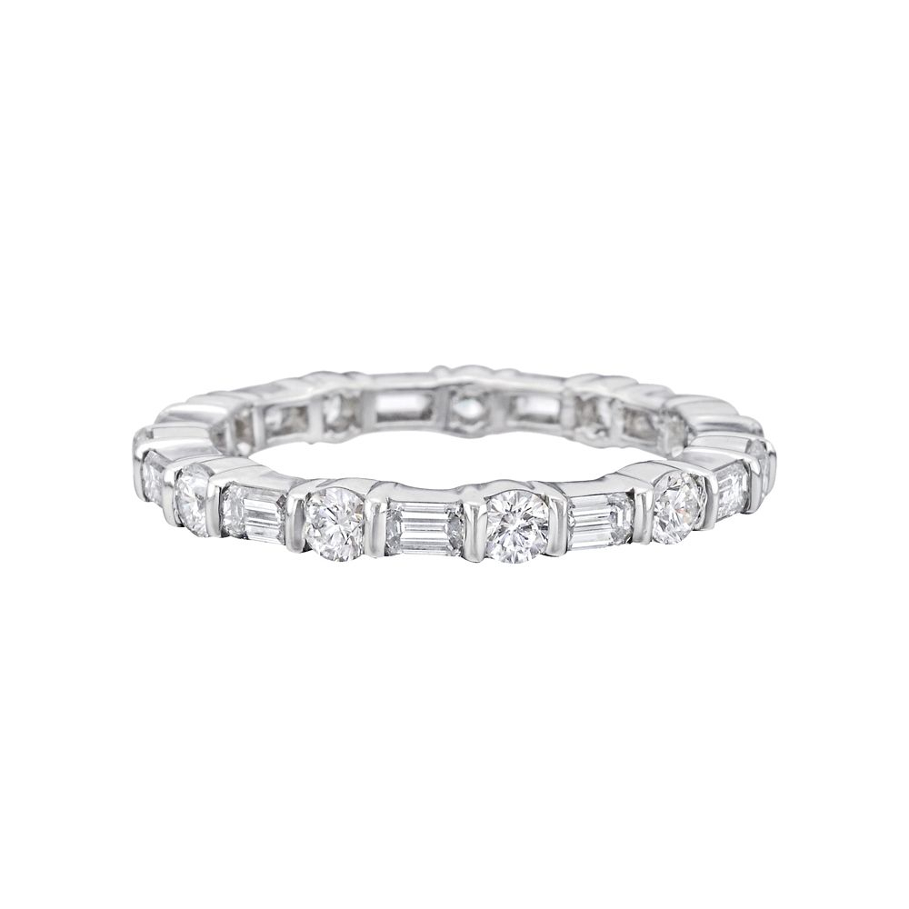 Betteridge Collection Round & Baguette Diamond Eternity Band Intended For Current Baguette And Round Diamond Alternating Bar Anniversary Bands In White Gold (View 13 of 25)