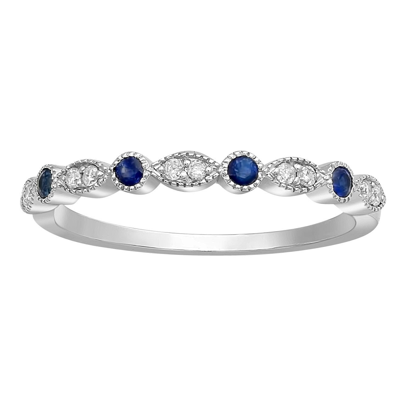 Beverly Hills Charm 10k White Gold Blue Sapphire And In Current Diamond Vintage Style Anniversary Bands In Gold (View 13 of 25)