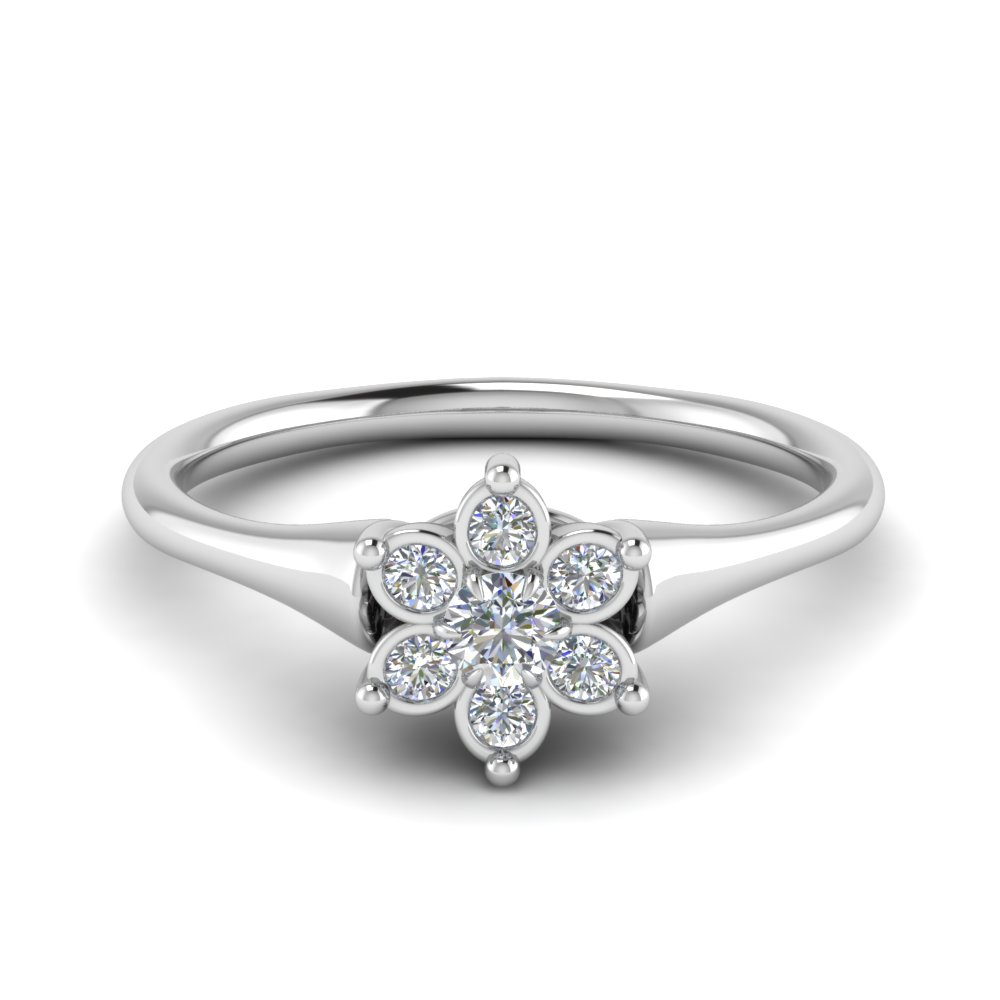 Bezel Daisy Flower Engagement Ring Regarding Best And Newest Daisy Flower Rings (View 3 of 25)