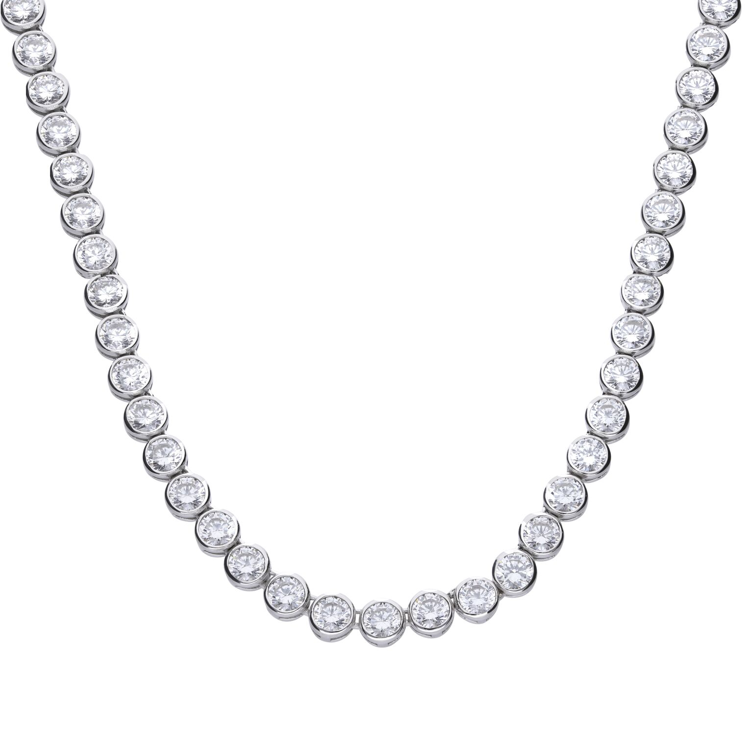 Bezel Set Tennis Necklace – Diamonfire Intended For Latest Interlocked Hearts Collier Necklaces (View 4 of 25)