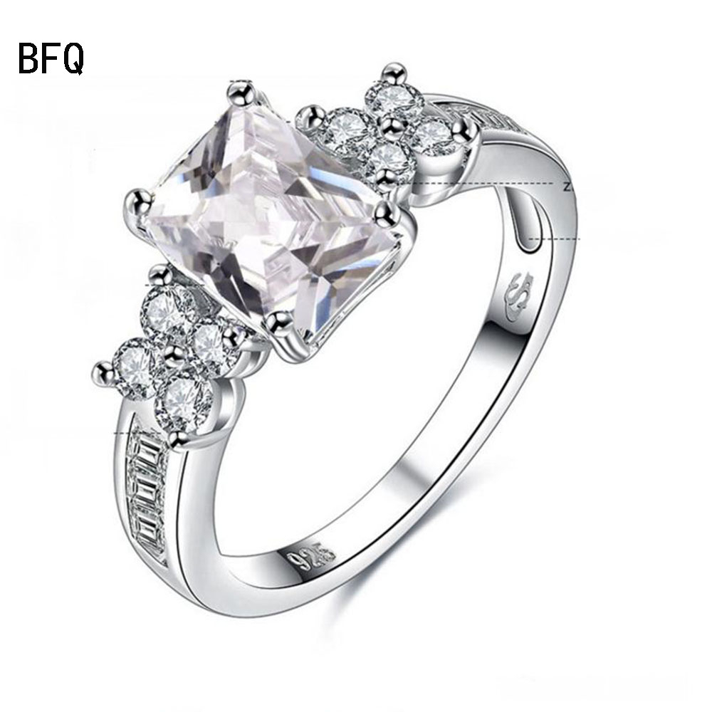 Bfq 925 Sterling Silver Girls Flowers Rings Dazzling Diamond Ring Women's  Wedding Jewelry Vintage Style Princessfast Shipping Inside Newest Diamond Vintage Style Anniversary Bands In Sterling Silver (View 11 of 25)