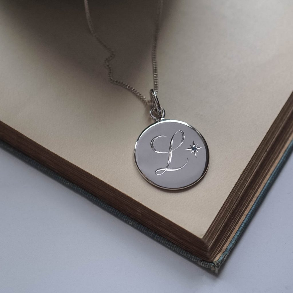 Birthstone December Topaz Initial Necklace In Sterling Silver In Recent London Blue December Birthstone Locket Element Necklaces (View 18 of 25)