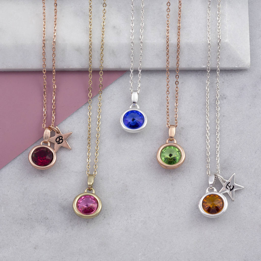 Birthstone Necklace Christmas Gift With Best And Newest Red July Birthstone Locket Element Necklaces (View 2 of 25)