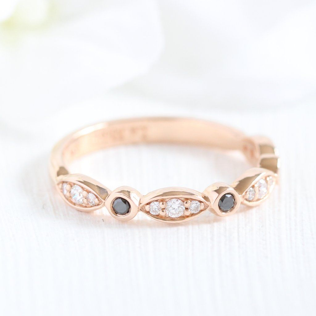 Black And White Diamond Ring In Rose Gold Scalloped Bezel Throughout Newest Marquise And Round Diamond Alternating Anniversary Bands In Rose Gold (View 12 of 25)