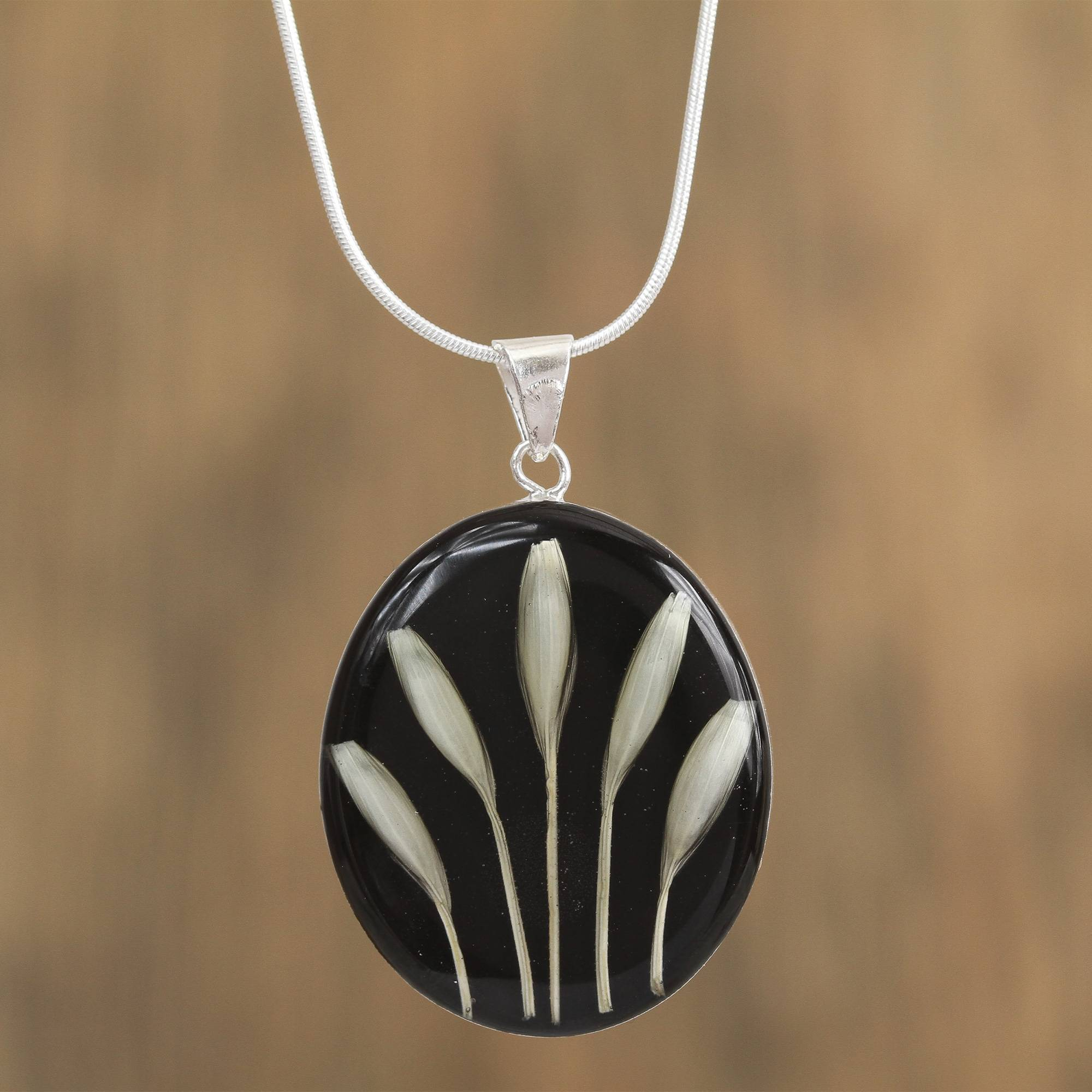 Black And White Natural Wheat Pendant Necklace From Mexico, 'white On Black' With Current Wheat Pendant Necklaces (View 13 of 25)
