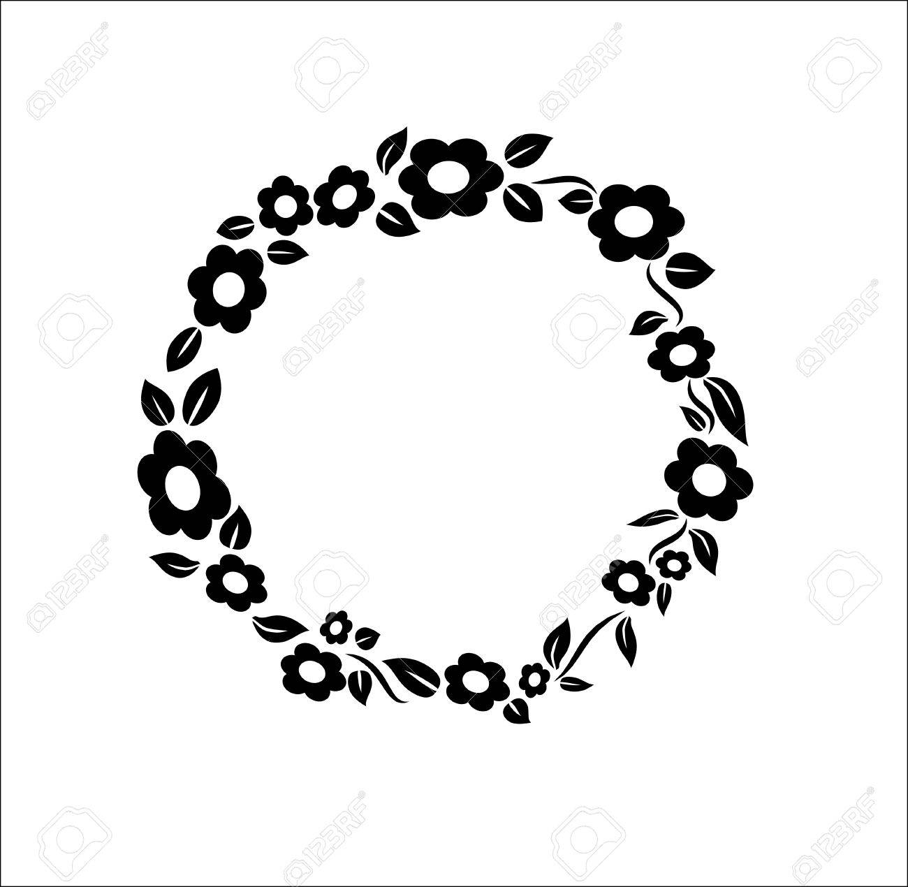 Black And White Vintage Flower Circle Ring Frame Decoration Wedding. (View 5 of 25)