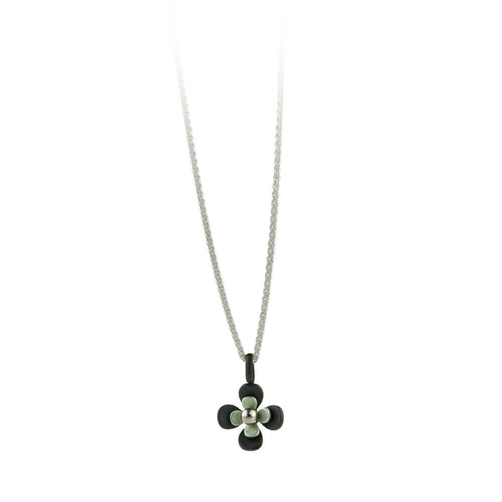 Black Back Four Petal Flower Titanium Pendant Necklace Regarding Recent Four Petal Flower Necklaces (View 12 of 25)
