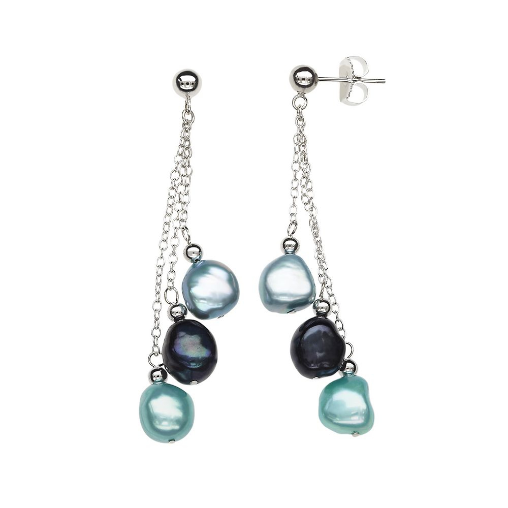 Black & Blue Freshwater Cultured Pearl Dangle Earrings In Sterling With Regard To Most Up To Date Dangling Freshwater Cultured Pearl Rings (View 1 of 25)