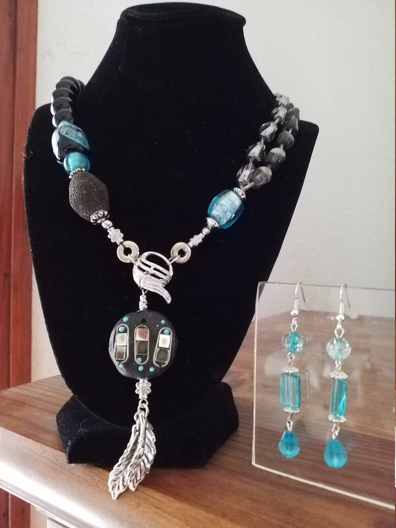 Black, Blue, Turquoise, Clear. Boho Y Necklace. Original. Drop Earrings (View 7 of 25)