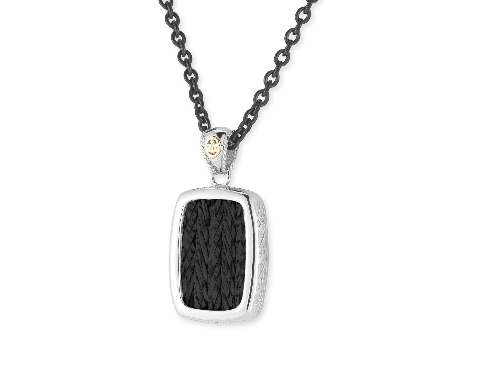 Black Cable Pendant On Black Chain Necklace With 18Kt Yellow Gold With Most Popular Cable Chain Necklaces (View 5 of 25)