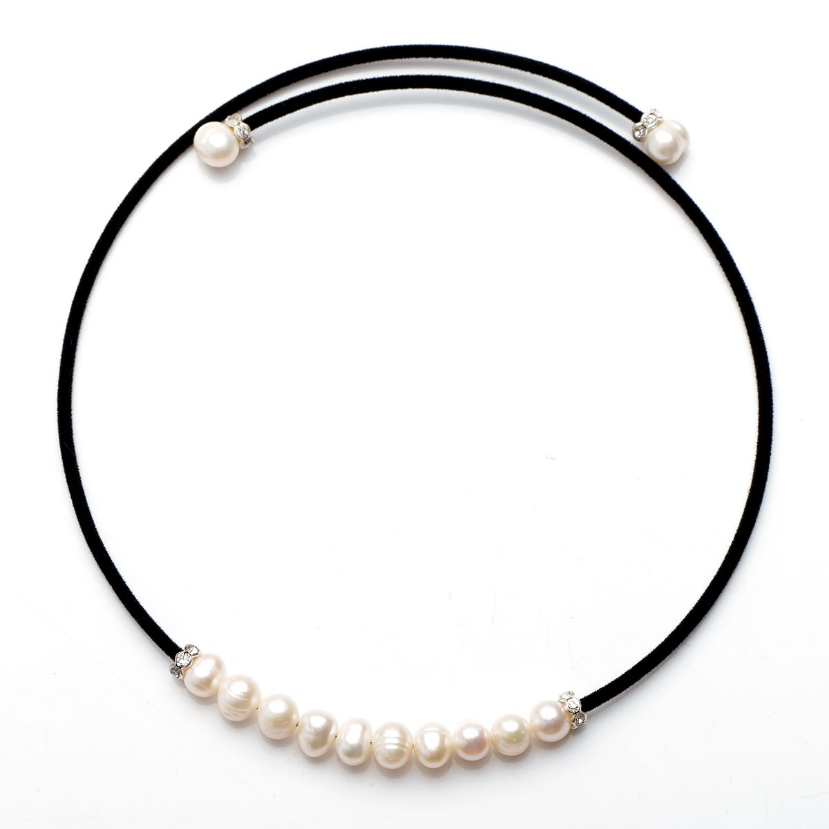Black Cotton Cord White Freshwater Pearls Choker Necklace For Women's Fashion Jewelry For Most Recently Released Offset Freshwater Cultured Pearl Circle Necklaces (View 13 of 25)