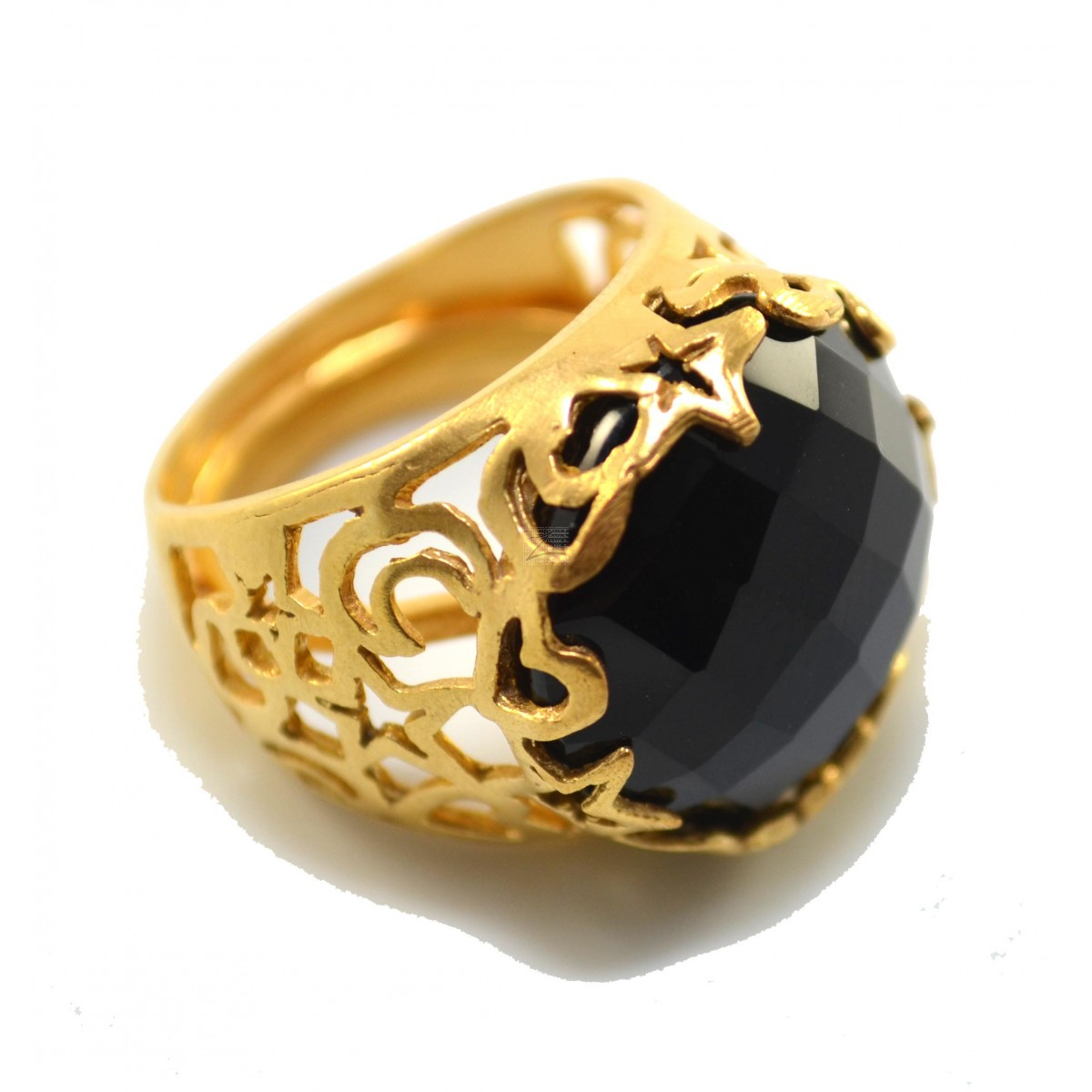 Black Multifaceted Onyx Stone Cocktail Ring With 24K Gold Plated Pertaining To Most Popular Multifaceted Rings (View 6 of 25)