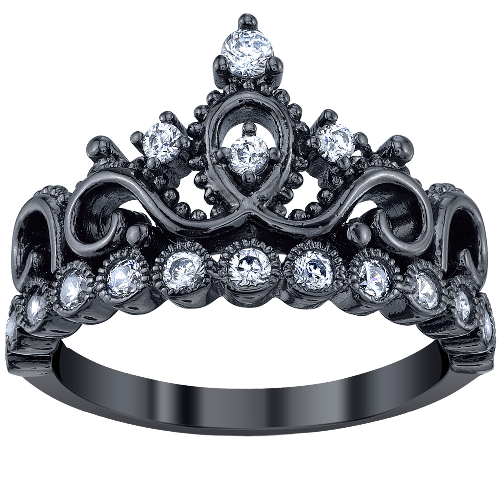 Black Rhodium Plated 925 Sterling Silver Princess Crown Ring | Crown With Regard To Newest Black Sparkling Crown Rings (View 2 of 25)