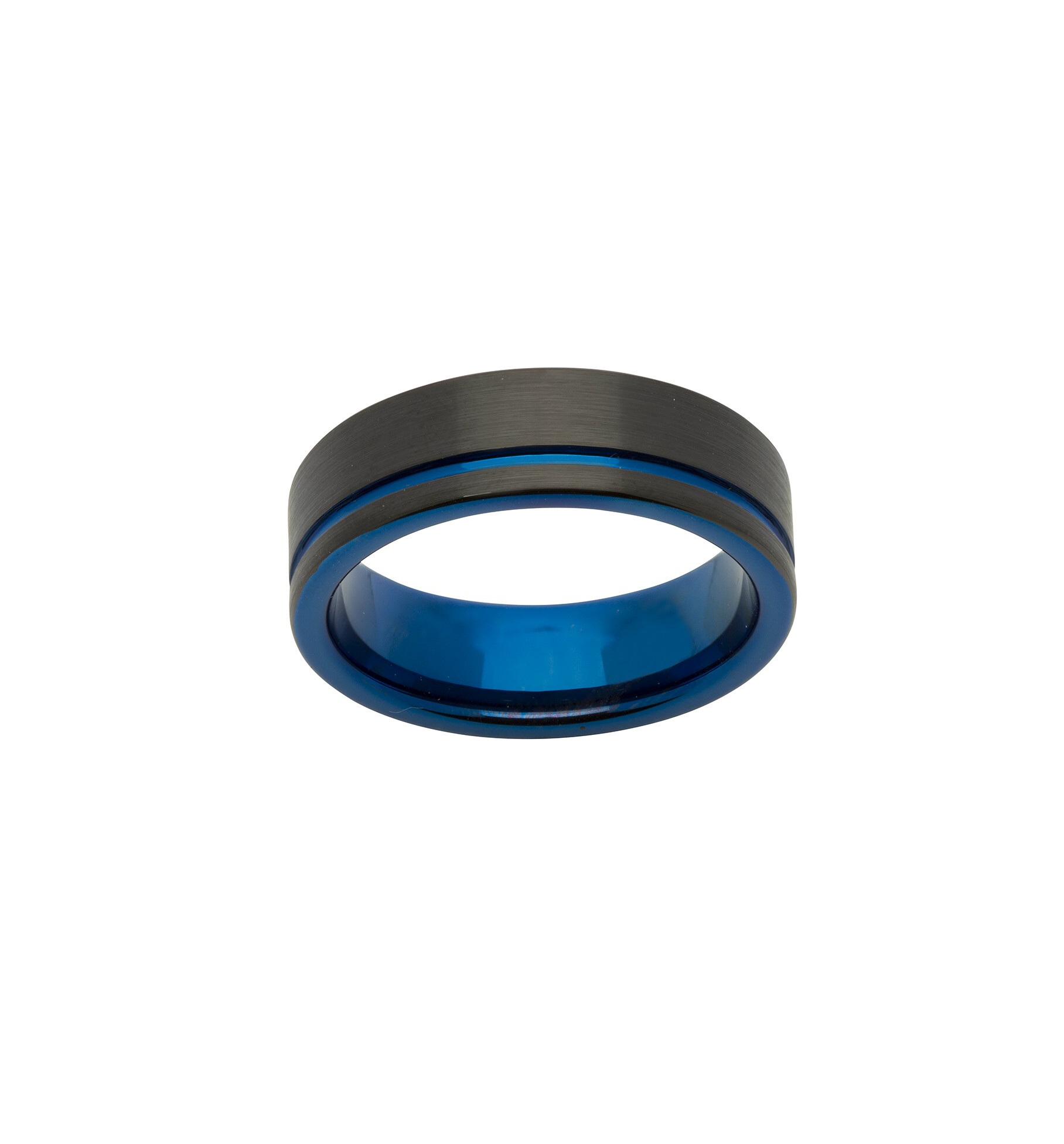 Black Tungsten Ring 7Mm Brushed Offset Blue Stripe Untu/tur058 With Most Recently Released Blue Stripes Rings (Gallery 5 of 25)