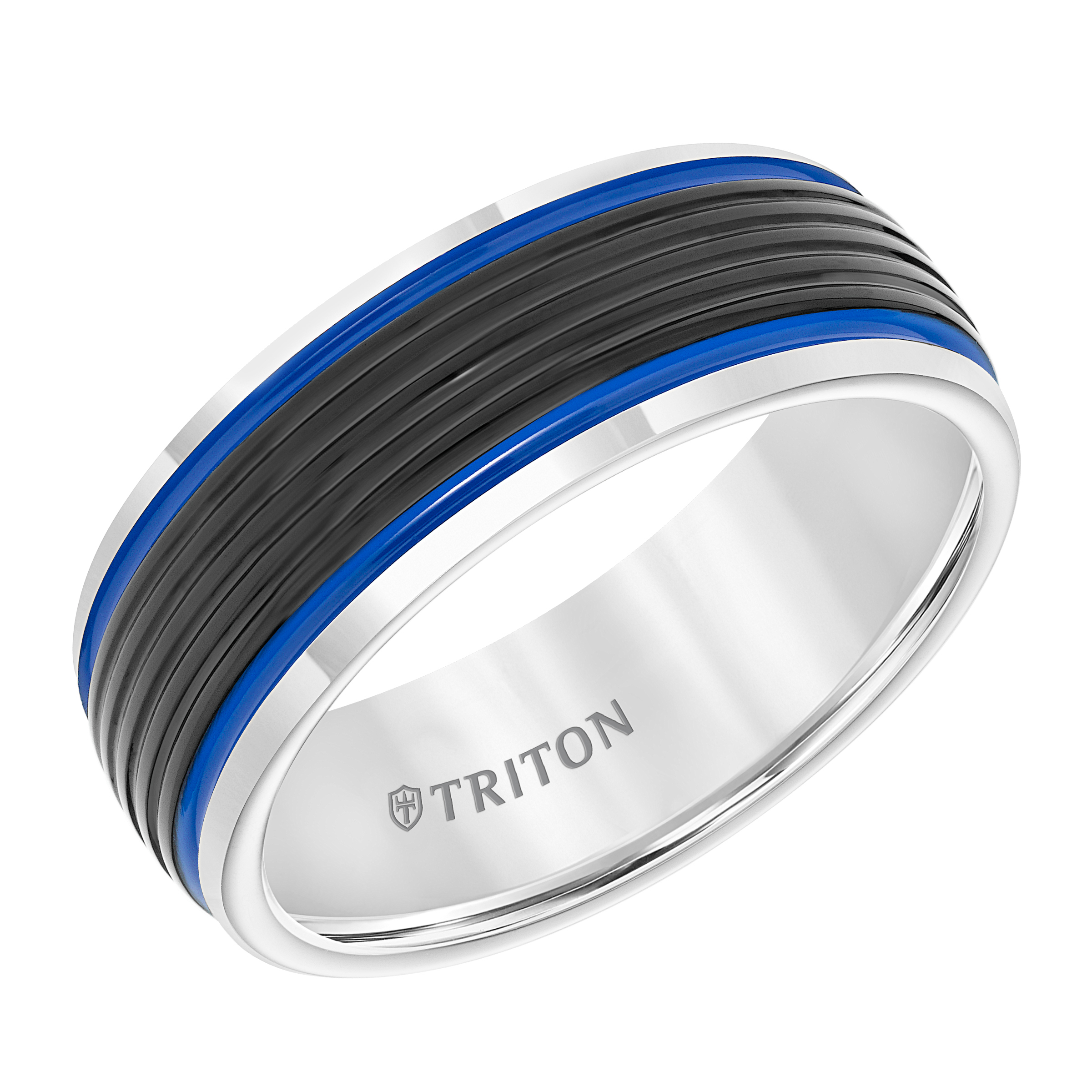 Black & White Domed Tungsten Carbide Band With Ribbed Center Inside Recent Blue Stripes Rings (View 8 of 25)