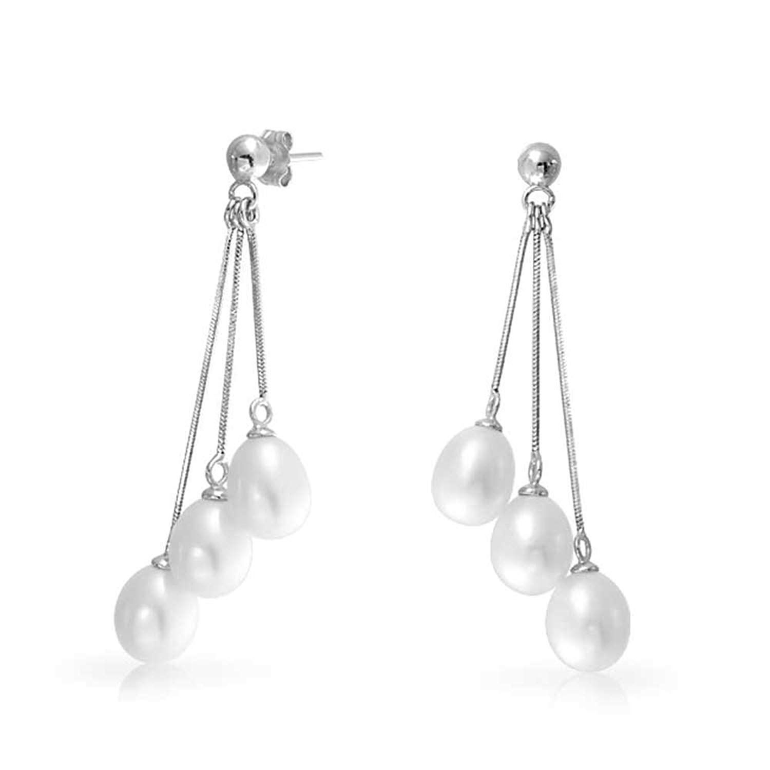 Bling Jewelry Multi Strand Freshwater Cultured Pearl Sterling Silver Throughout Most Recently Released Dangling Freshwater Cultured Pearl Rings (View 2 of 25)