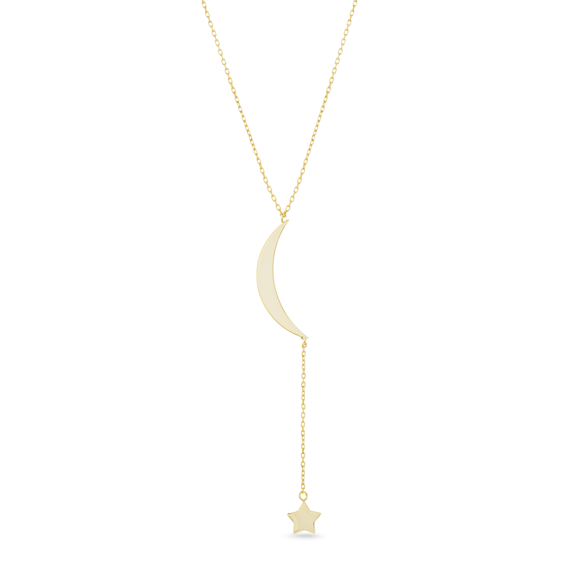 Bliss Polished Moon And Star Drop Necklace In Yellow Gold Plated Sterling Silver Throughout 2019 Polished Moon & Star Pendant Necklaces (View 7 of 25)