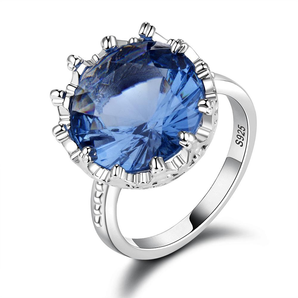 Blue Gem Stone Rings Silver Color Wedding Engagement Rings For Women Finger  Brand Jewelry For Women Created Blue Crystal Ring Regarding Most Popular Diamond Station Anniversary Bands In Rose Gold (View 5 of 25)