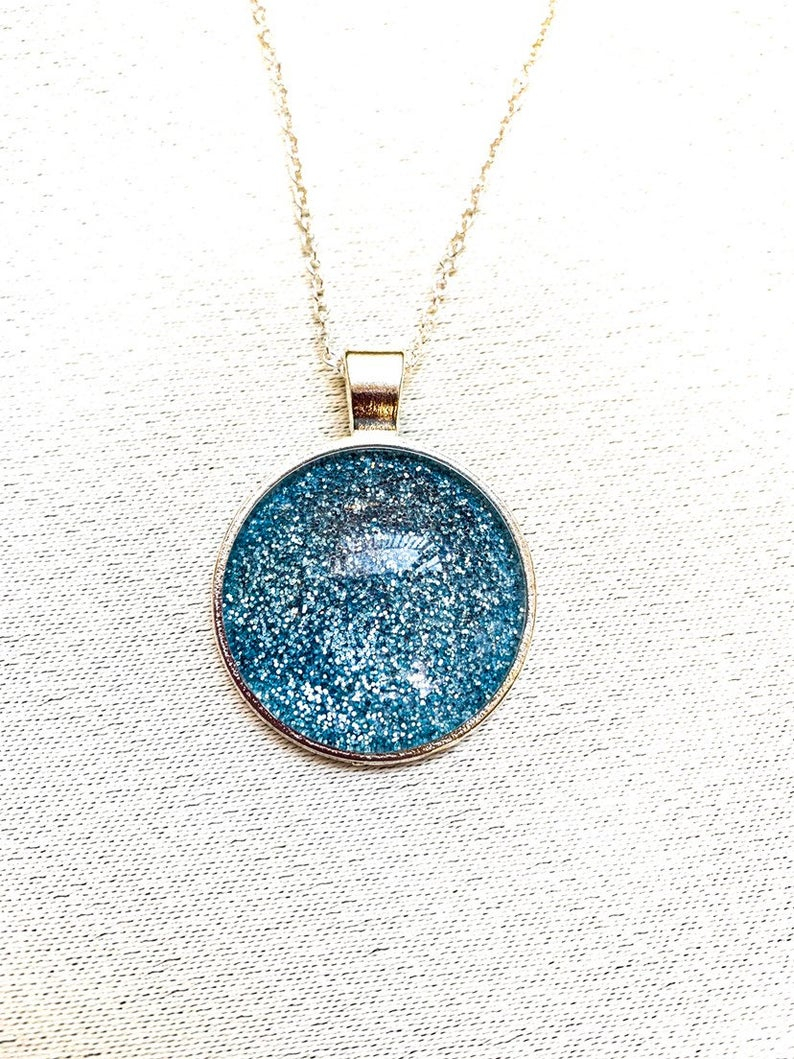 Blue Glitter Necklace, Shiny Necklace, Blue Sparkle Necklace, Sparkly, Gift For Her, Handmade Necklace, Pendant Necklace, Cabochon Necklace Inside Most Recently Released Circle Of Sparkle Necklaces (View 16 of 25)