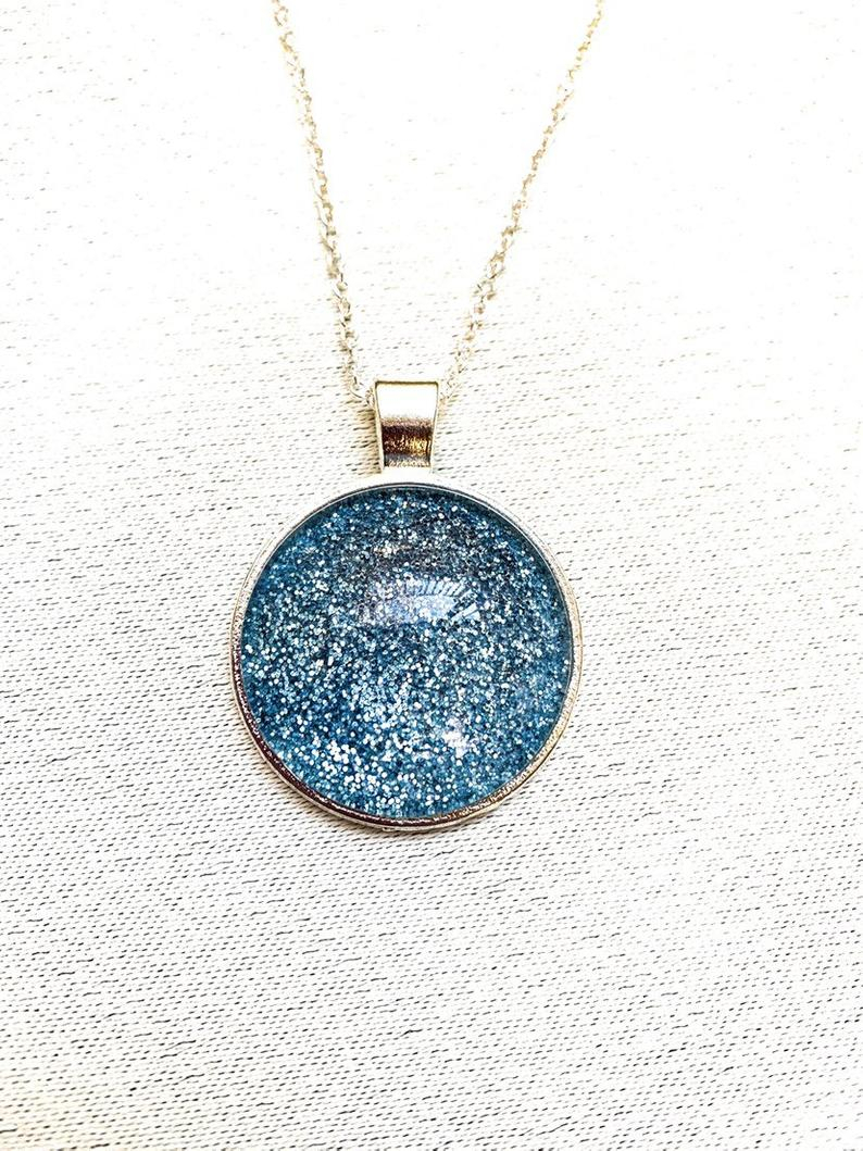 Blue Glitter Necklace, Shiny Necklace, Blue Sparkle Necklace, Sparkly, Gift For Her, Handmade Necklace, Pendant Necklace, Cabochon Necklace With Most Recently Released Circle Of Sparkle Necklaces (View 16 of 25)