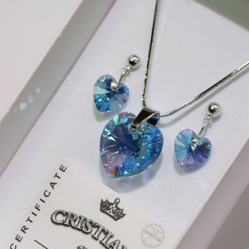 Blue Heart Swarovski Elements Necklace Crystal Fashion Set Earrings ! | Ebay In Newest Ice Crystal Heart Collier Necklaces (View 13 of 25)