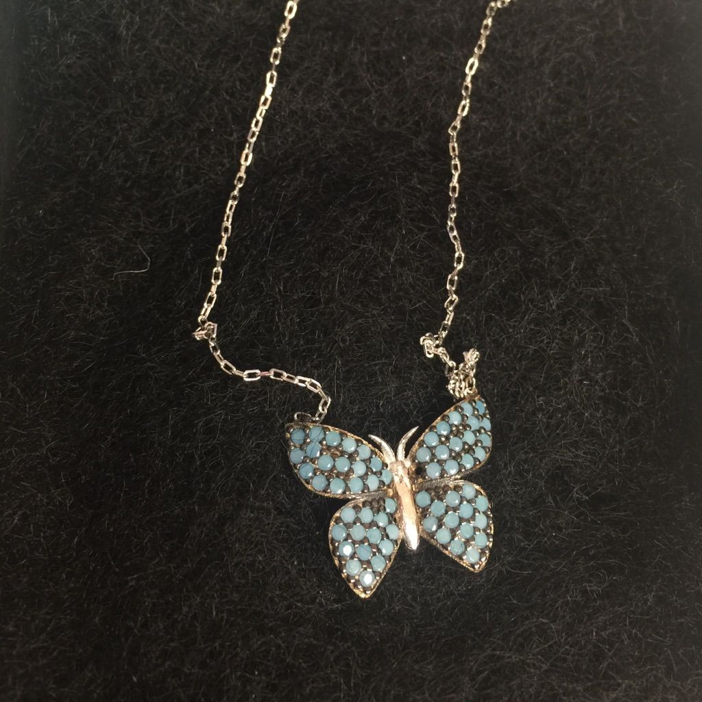 Blue Opal Crystal Pave Butterfly Necklace, Nwt | Products Inside Recent Blue Pavé Butterfly Brooch Necklaces (View 5 of 25)