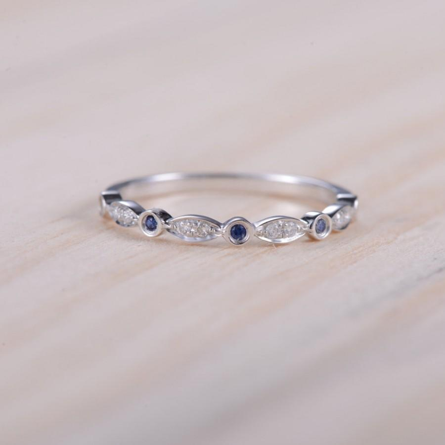 Blue Sapphire Band Diamond Band Half Eternity Ring Sapphire Intended For Recent Diamond Eternity Anniversary Bands In White Gold (View 8 of 25)