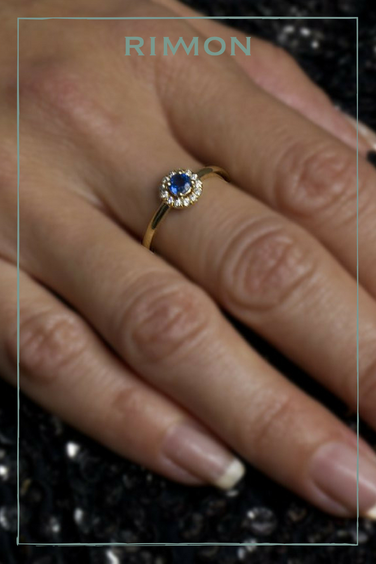 Blue Sapphire & Diamond Halo Ring | Best Finds On Etsy | Square Throughout Current Sparkling Square Halo Rings (View 3 of 25)