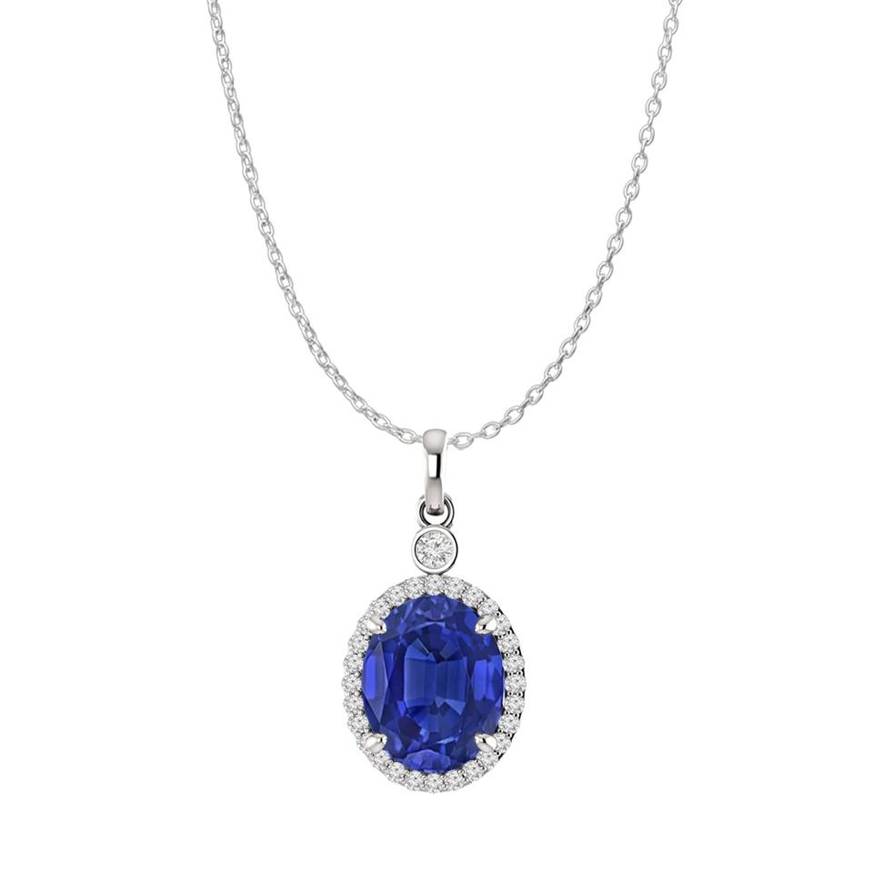 Blue Silver Oval Sapphire And Cz 925 Sterling Halo Pendant Necklace 68% Off  Retail For Latest Oval Sparkle Halo Pendant Necklaces (View 2 of 25)