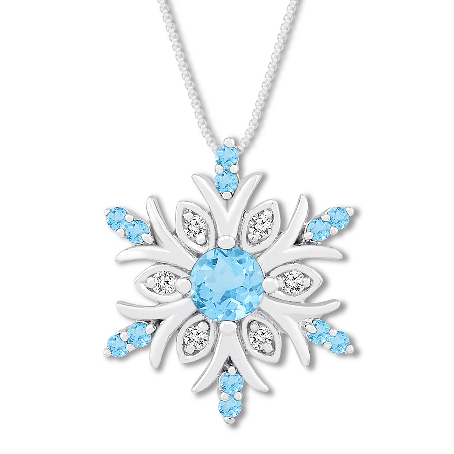 Blue Topaz & Diamond Snowflake Necklace Sterling Silver Pertaining To 2019 Shimmering Snowflake Locket Element Necklaces (View 5 of 25)