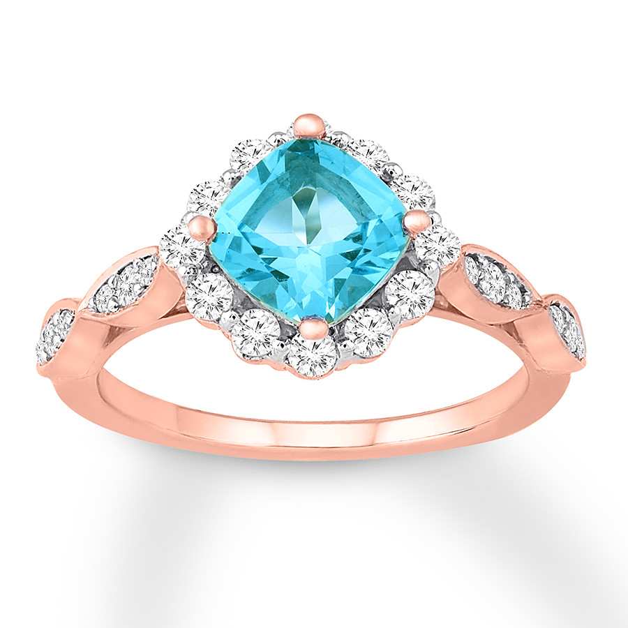 Blue Topaz Engagement Ring 1/2 Ct Tw Diamonds 14k Rose Gold For Current Blue Sparkling Crown Rings (View 13 of 25)