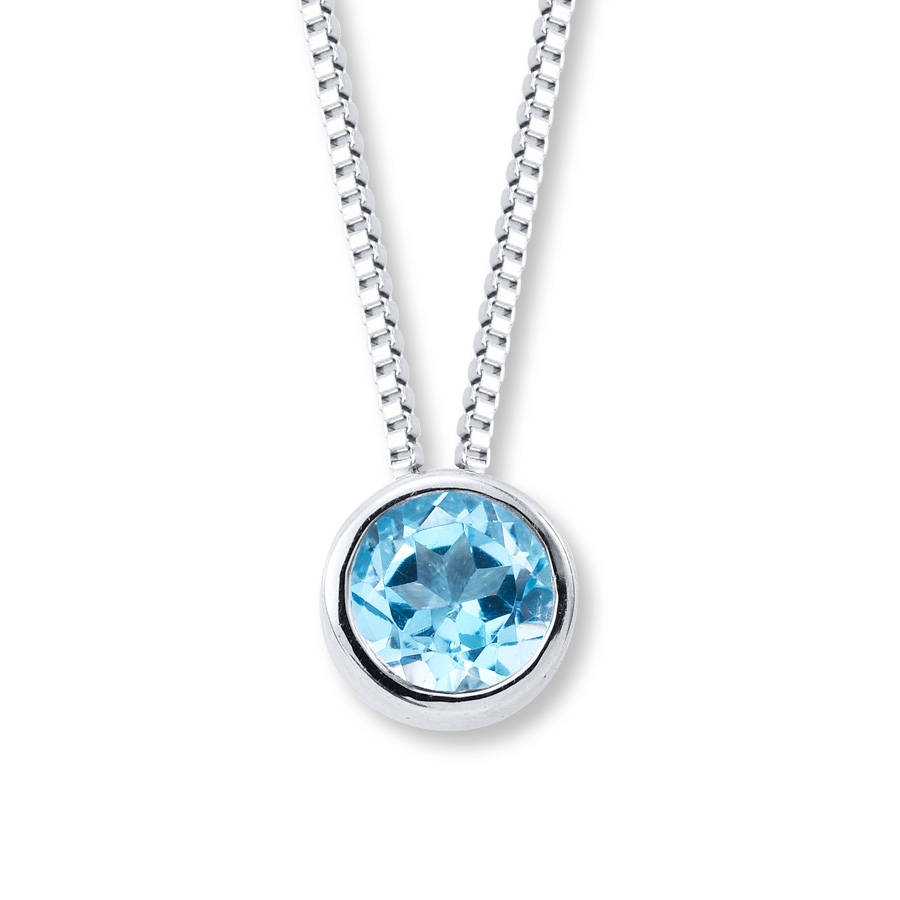 Blue Topaz Necklace Bezel Set Sterling Silver For Recent London Blue December Birthstone Locket Element Necklaces (View 3 of 25)