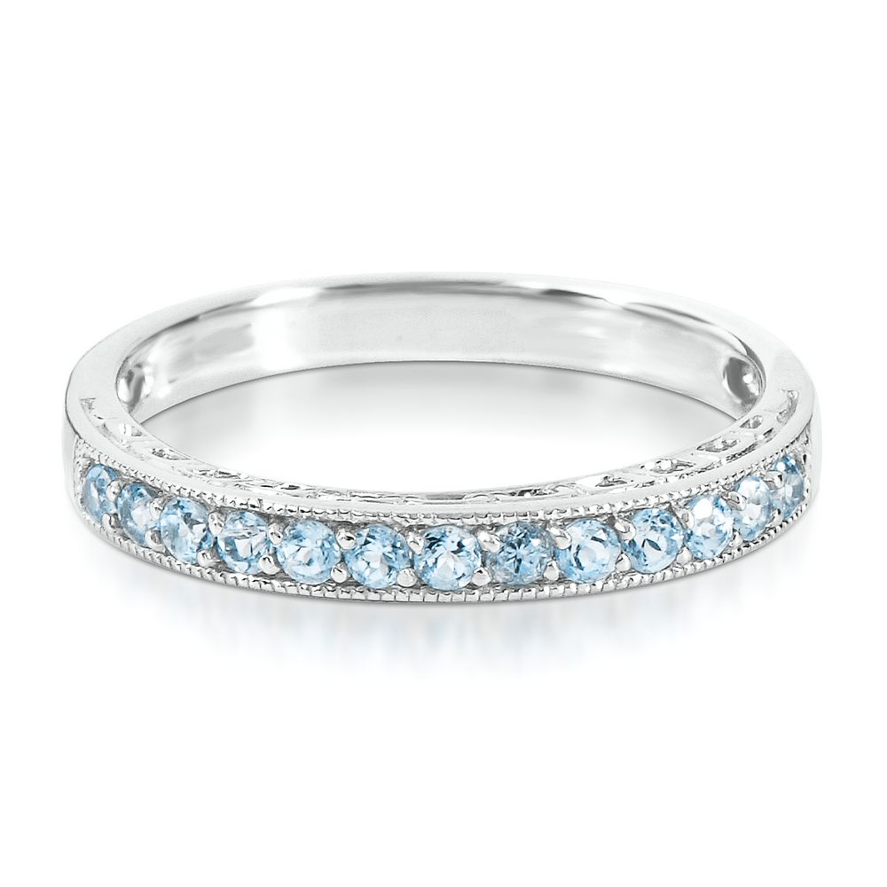"""Blue Topaz Stack Ring In Sterling Silver 