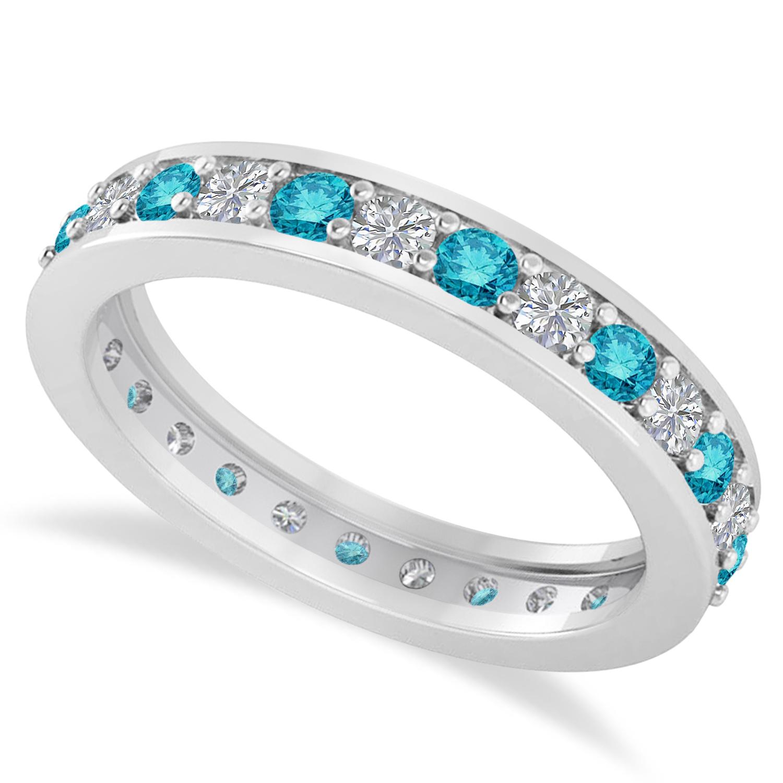 Blue & White Diamond Eternity Wedding Band 14k White Gold ( (View 5 of 25)