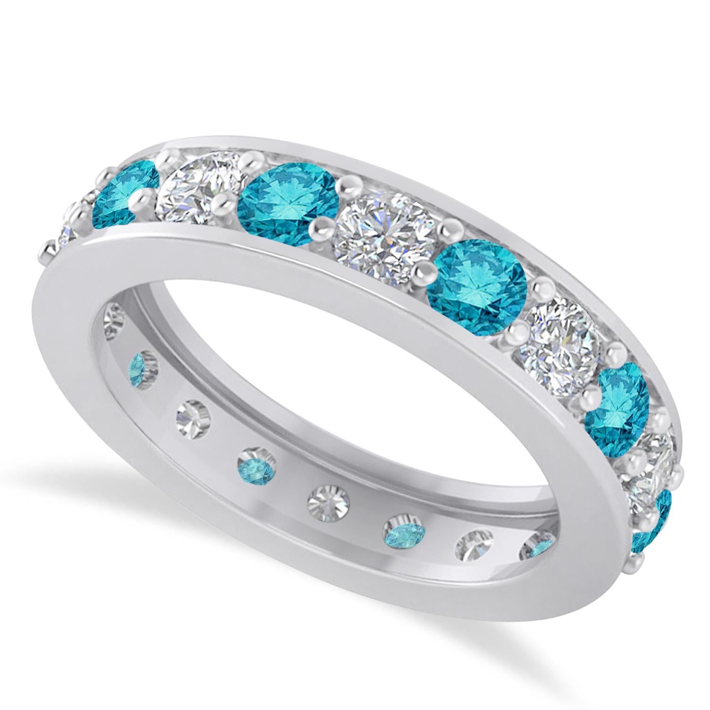 Blue & White Diamond Eternity Wedding Band 14k White Gold ( (View 4 of 25)