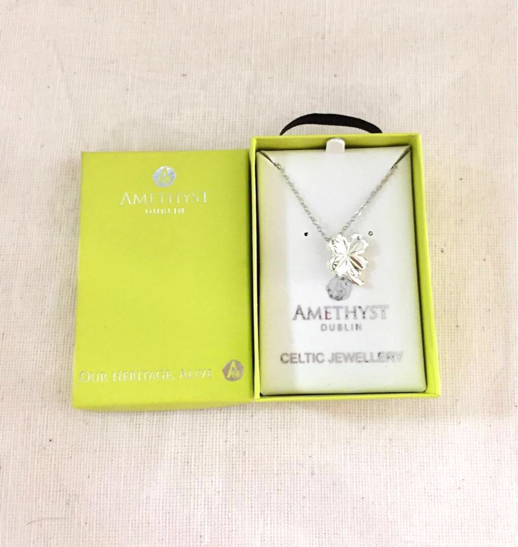 Bnib Amethyst Dublin Silver Plated Lucky 4 Leaf Clover Pendant Necklace Pertaining To Newest Lucky Four Leaf Clover Locket Element Necklaces (View 22 of 25)