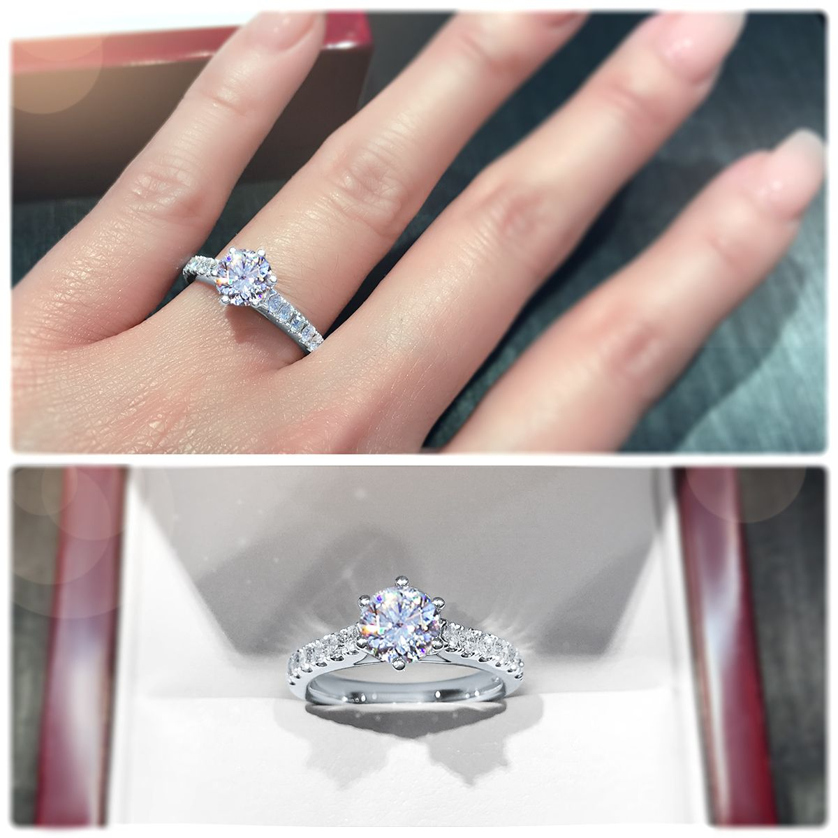 Bold 6 Claw Engagement Ring With Pavé Set Band In 2019 | Blah With Most Recently Released Sparkling Pavé Band Rings (View 3 of 25)