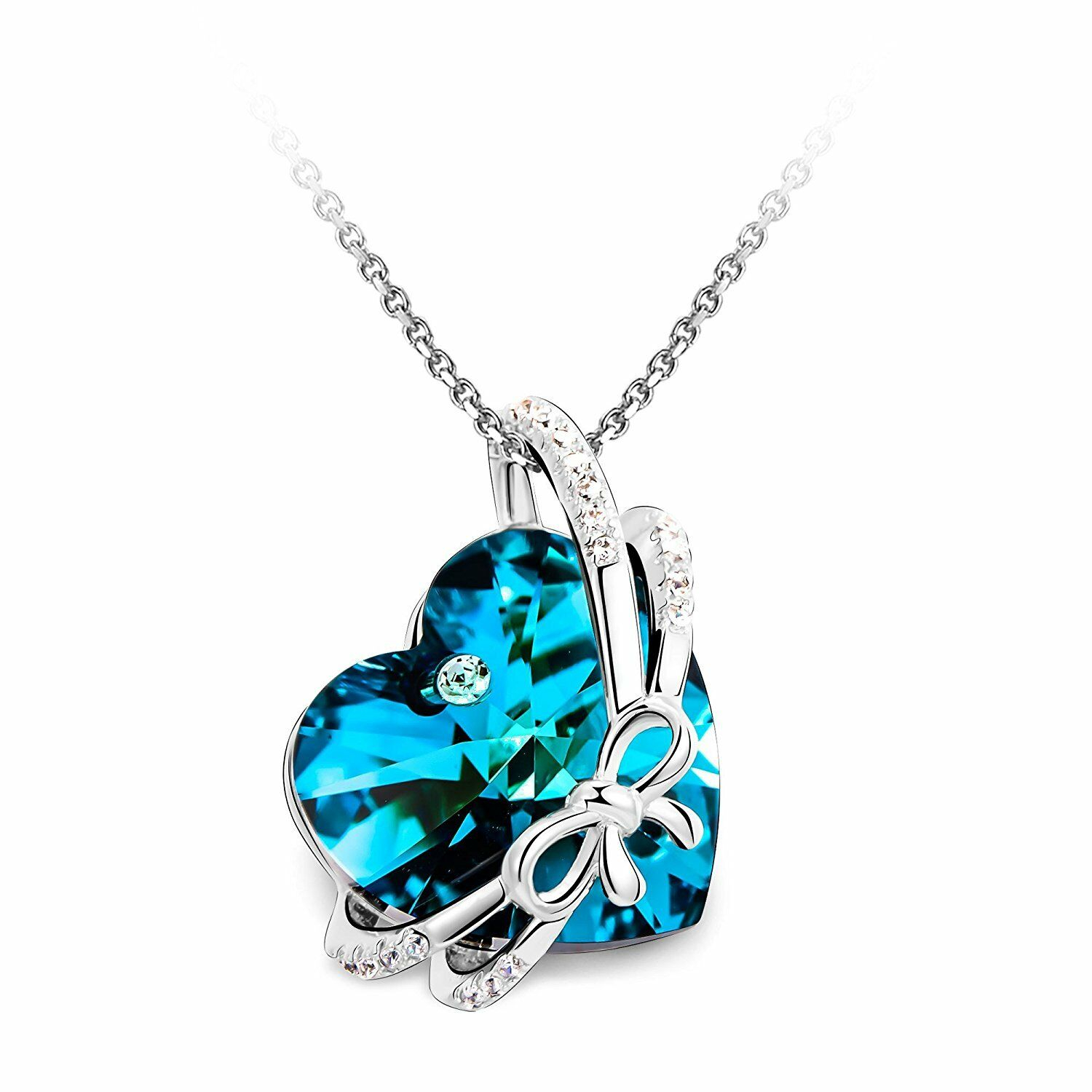 Bowtie Knot Heart Pendant Necklace – Women Lady Wife Girlfriend Birthday  Gifts Within Most Popular Knotted Heart Pendant Necklaces (Gallery 11 of 25)