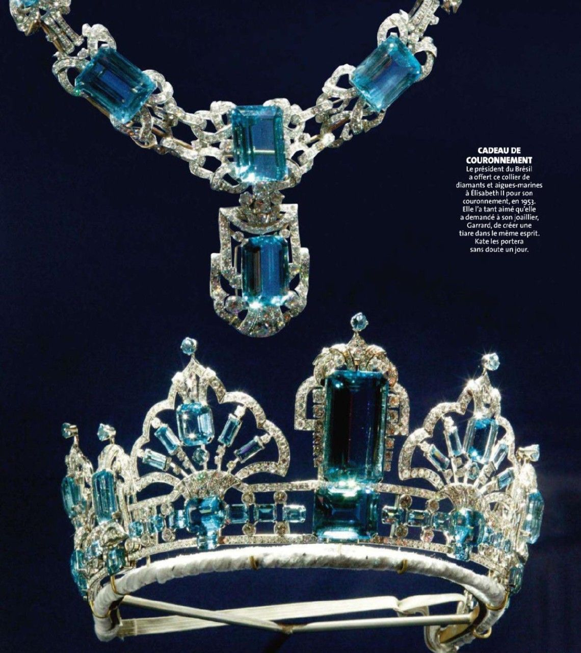 Brazilian Aquamarine Tiara And Necklace, One Of The Newest Set Of Pertaining To Most Recent Tiara Crown Collier Necklaces (View 5 of 25)