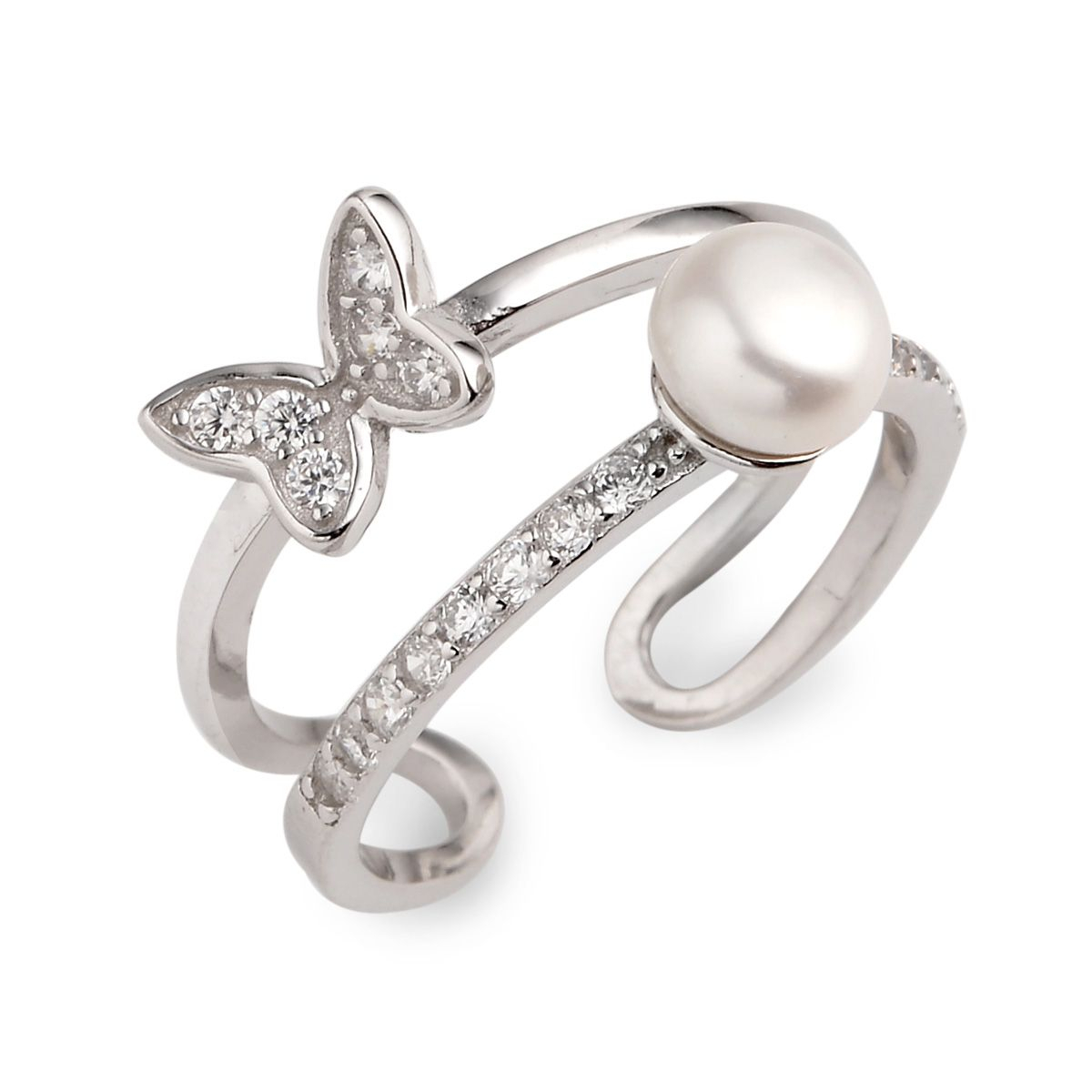 Bread Freshwater Cultured Pearl Little Butterfly 925 Silver Zircon Studded  Opening Style Ring Regarding Most Popular Bead & Freshwater Cultured Pearl Open Rings (View 5 of 25)