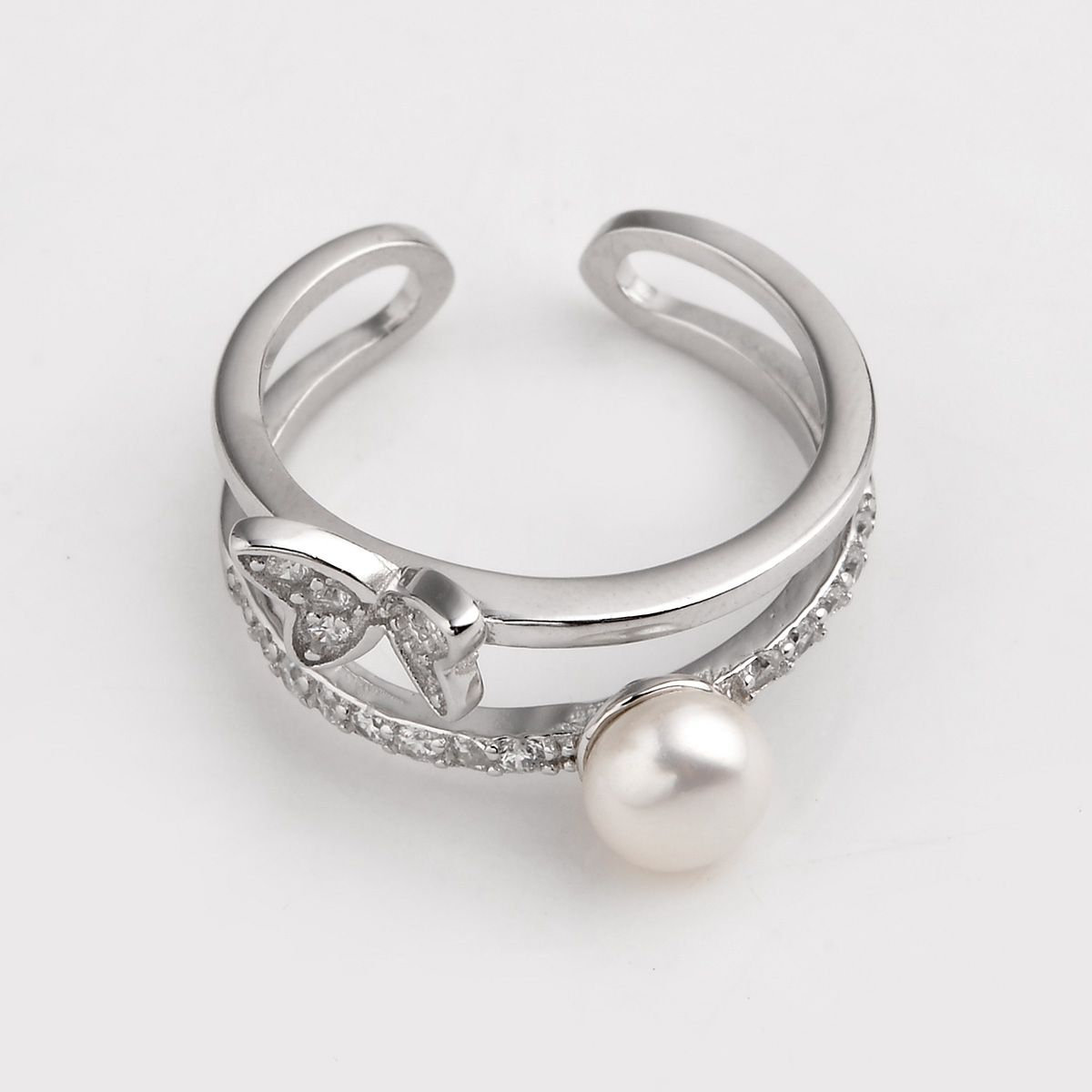 Bread Freshwater Cultured Pearl Little Butterfly 925 Silver Zircon Studded  Opening Style Ring With Regard To Newest Bead & Freshwater Cultured Pearl Open Rings (View 7 of 25)